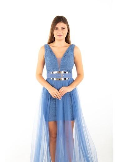 Belamore  Kalın Askılı Içi Dantel Üzeri Tül Detaylı Abiye & Mezuniyet Elbisesi 1301535.98 İndigo